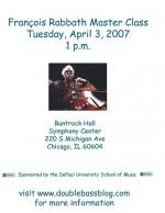 Francois Rabbath Master Class – April 3, 2007 in Chicago, IL