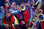 Basses in jazz art paintings from Ann deLorge
