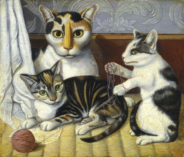 "But can Bearden beat out this painting of ""Cats and Kittens"" (c. 1872/1883) by an unknown artist, selected by the National Gallery? (image via arteverywhereus.org)"